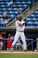 Staten Island Yankees center fielder Alex Junior (29) at bat during a game against the Lowell Spinners on August 22, 2018 at Richmond County Bank Ballpark in Staten Island, New York.  Staten Island defeated Lowell 10-4.  (Mike Janes/Four Seam Images)