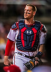 7 October 2017: Washington Nationals catcher Matt Wieters glances back to the dugout during the second NLDS game against the Chicago Cubs at Nationals Park in Washington, DC. The Nationals defeated the Cubs 6-3 and even their best of five Postseason series at one game apiece. Mandatory Credit: Ed Wolfstein Photo *** RAW (NEF) Image File Available ***
