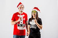 Wednesday 02 November 2016<br /> Pictured: Julie Parienti and Jordan Harris<br /> Re: Swansea City Christmas Photo shoot, Liberty Stadium, Wales, UK