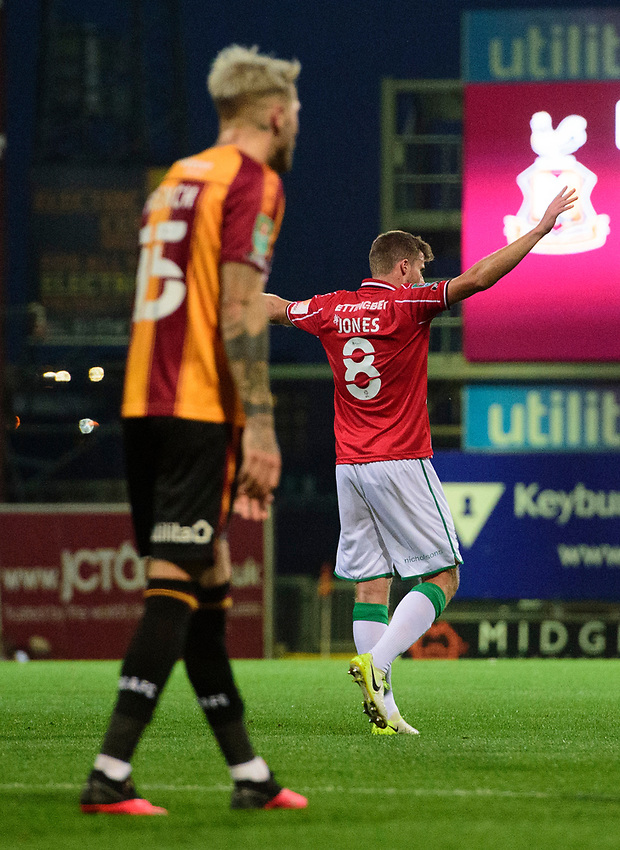 Lincoln City's James Jones celebrates scoring his side's fourth goal<br /> <br /> Photographer Chris Vaughan/CameraSport<br /> <br /> Carabao Cup Second Round Northern Section - Bradford City v Lincoln City - Tuesday 15th September 2020 - Valley Parade - Bradford<br />  <br /> World Copyright © 2020 CameraSport. All rights reserved. 43 Linden Ave. Countesthorpe. Leicester. England. LE8 5PG - Tel: +44 (0) 116 277 4147 - admin@camerasport.com - www.camerasport.com