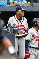 Rome Braves hitting coach Bobby Moore (1) during a game against the Asheville Tourists at McCormick Field on July 18, 2019 in Asheville, North Carolina. The Tourists defeated the Braves 4-3. (Tony Farlow/Four Seam Images)