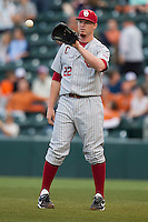Oklahoma Sooners starting pitcher Jonathan Gray #22 in action against the Texas Longhorns in the NCAA baseball game on April 5, 2013 at UFCU DischFalk Field in Austin Texas. Oklahoma defeated Texas 2-1. (Andrew Woolley/Four Seam Images).