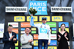Marc Soler (ESP) Movistar Team takes over the White Jersey at the end of Stage 4 of the Paris-Nice 2018 an 18km individual time trial running from La Fouillouse to Saint-Etienne, France. 7th March 2018.<br />