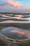Manzanita, Oregon:<br /> Tide pools reflecting sunset sky, Manzanita beach