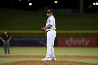 Mesa Solar Sox relief pitcher Angel Duno (79), of the Oakland Athletics organization, gets ready to deliver a pitch during an Arizona Fall League game against the Scottsdale Scorpions at Sloan Park on October 10, 2018 in Mesa, Arizona. Scottsdale defeated Mesa 10-3. (Zachary Lucy/Four Seam Images)