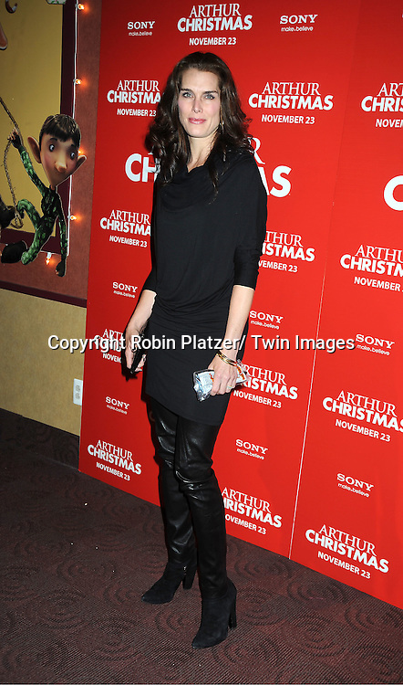 "Brooke Shields posing for photographers at The New York Special Screening of ""Arthur Christmas"" on November 13, 2011 at The Clearview Chelsea Theatre in New York City."