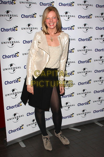 CLAIRE GROGAN.Chortle Comedy Awards at Floridita, London, England, UK, .February 7th, 2011..full length smiling gold shiny jacket metallic sparkly top black skirt tights ankle boots .CAP/AH.©Adam Houghton/Capital Pictures.