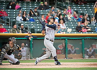 Matt Clark (23) of the Colorado Springs Sky Sox at bat against the Salt Lake Bees in Pacific Coast League action at Smith's Ballpark on May 22, 2015 in Salt Lake City, Utah.  (Stephen Smith/Four Seam Images)