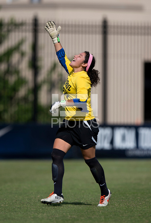 Alejandria Godinez (00) of DePaul celebrates a goal during the game at Shaw Field on the campus of Georgetown University in Washington, DC.  Georgetown tied DePaul, 1-1, in double overtime.