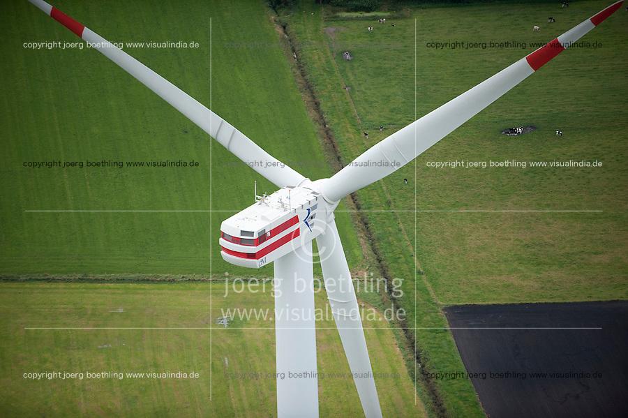 GERMANY aerial view of wind turbine in Northern Germany , wind turbine REpower 6M with 6 Megawatt / DEUTSCHLAND, Luftaufnahmen von Windkraftanlagen in Schleswig-Holstein, Windturbine REpower 6M mit 6 MW Nennleistung, REpower wurde 2014 in Senvion umbenannt