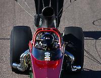 Feb 26, 2016; Chandler, AZ, USA; NHRA top dragster driver Moe Trujillo during qualifying for the Carquest Nationals at Wild Horse Pass Motorsports Park. Mandatory Credit: Mark J. Rebilas-
