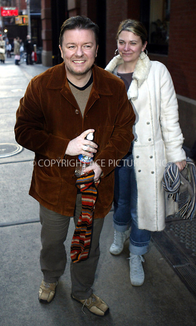 WWW.ACEPIXS.COM . . . . .  ....NEW YORK, FEBRUARY 22, 2005....Ricky Gervais poses for photographers outside his downtown hotel.....Please byline: Ian Wingfield - ACE PICTURES..... *** ***..Ace Pictures, Inc:  ..Philip Vaughan (646) 769-0430..e-mail: info@acepixs.com..web: http://www.acepixs.com
