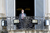 Carmelo Barbagallo, secretary of UIL, from the balcony of the Casina del buon respiro, inside Villa Pamphilj, where the Italian Premier convened the States General of Economy. The summit was strictly behind closed doors and the press was kept outside. Rome (Italy), June 15th 2020<br /> <br /> <br /> <br /> Samantha Zucchi Insidefoto