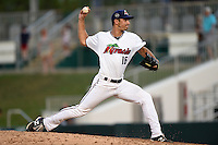 Fort Myers Miracle pitcher J.T. Chargois (16) delivers a pitch during a game against the St. Lucie Mets on April 19, 2015 at Hammond Stadium in Fort Myers, Florida.  Fort Myers defeated St. Lucie 3-2 in eleven innings.  (Mike Janes/Four Seam Images)