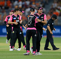 26th December 2019; Optus Stadium, Perth, Western Australia, Australia;  Big Bash League Cricket, Perth Scorchers versus Sydney Sixers; Moises Henriques of the Sydney Sixers congratulates Jordan Silk after the Sixers defeated the Scorchers - Editorial Use