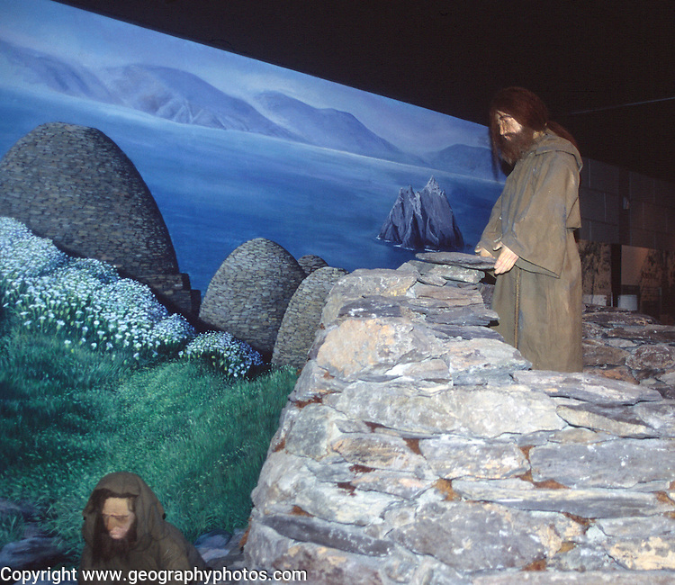 Re-creation of monastic life, Skellig Experience Centre, Valentia Island, County Kerry, Ireland