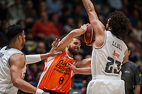 VALENCIA, SPAIN - FEBRUARY 28: Gustavo Ayon, Antoine Diop, Sergio Llull during ENDESA LEAGUE match between Valencia Basket Club and Real Madrid at Fonteta Stadium on   February, 2016 in Valencia, Spain