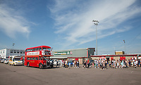 The Red London 'Celeb FC' Bus during the 'Greatest Show on Turf' Celebrity Event - Once in a Blue Moon Events at the London Borough of Barking and Dagenham Stadium, London, England on 8 May 2016. Photo by Andy Rowland.