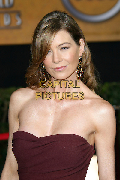 ELLEN POMPEO.12th Annual Screen Actors Guild Awards (SAG) held at the Shrine Auditorium, Los Angeles, California, USA..January 29th, 2006.Photo: Zach Lipp/AdMedia/Capital Pictures.Ref: ZL/ADM.headshot portrait strapless  dangling earrings.ww.capitalpictures.com.sales@capitalpictures.com.© Capital Pictures.