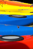 Kayak's are lined up in Amelia Island, FL