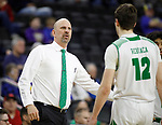 SIOUX FALLS, SD - MARCH 8: North Dakota Fighting Hawks head coach Paul Sather talks with his team during a time out during their game against the PFW Mastodons at the 2020 Summit League Basketball Championship in Sioux Falls, SD. (Photo by Richard Carlson/Inertia)