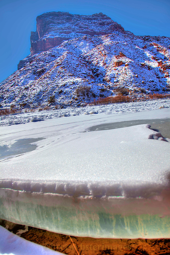 An arctic chill generates thick ice on the Colorado River near Moab, Utah.