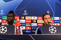 Head Coach of Olympiacos FC, Pedro Martins and his player Pape Abou Cisse attend a press conference ahead of the UEFA Champions League match against Tottenham Hotspur, in Karaiskaki Stadium in Piraeus, Greece. Tuesday 17 September 2019