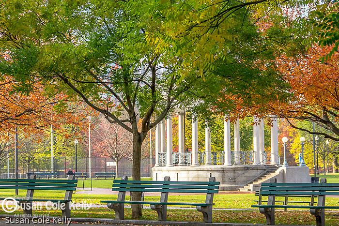 Autumn at the Parkman Bandstand on Boston Common, Boston, Massachusetts, USA