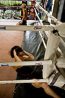 Shuki and Lital do power sit ups, pushups and stretching exercises after their daily morning run..(please refer to emailed captions for individual stories).Shuki Rosenweig and Students in training and daily life in Bangkok Thailand on 28th to 29th January 2010. .Photo by Suzanne Lee for Chabad Lubavitch