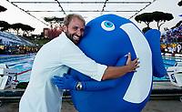 Massimiliano Rosolino and mascotte<br /> day 01  08-08-2017<br /> Energy For Swim<br /> Rome  08 -09  August 2017<br /> Stadio del Nuoto - Foro Italico<br /> Photo Deepbluemedia/Insidefoto
