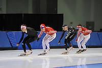 SCHAATSEN: SALT LAKE CITY: Utah Olympic Oval, 12-11-2013, Essent ISU World Cup, training, Team Russia, Denis Yuskov, Ivan Skobrev, ©foto Martin de Jong