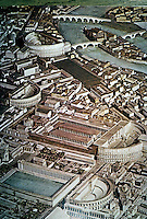 Italy: Rome--Model Theatres. From top, Theatre of Marcellus, Theatre of Balbus, Theatre of Pompeii and Odeon of Domitian.