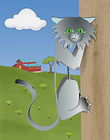 A digital artwork of a whimsical metal cat hanging out at an idyllic farm.