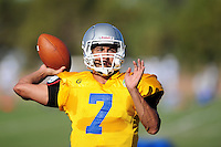 Sept. 16, 2009; Casa Grande, AZ, USA; Las Vegas Locomotives quarterback (7) J.P. Losman throws a pass during training camp at the Casa Grande Training Facility & Performance Institute. Mandatory Credit: Mark J. Rebilas-