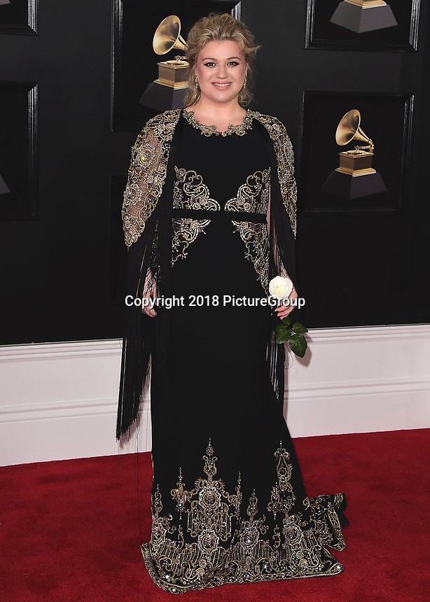NEW YORK - JANUARY 28:  Kelly Clarkson at the 60th Annual Grammy Awards at Madison Square Garden on January 28, 2018 in New York City. (Photo by Scott Kirkland/PictureGroup)