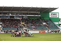 The forward packs scrum down during the Air NZ Cup rugby match between Manawatu Turbos and Counties-Manukau Steelers at FMG Stadium, Palmerston North, New Zealand on Sunday, 2 August 2009. Photo: Dave Lintott / lintottphoto.co.nz