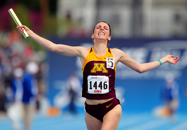 Minnesota's Gabriele Anderson celebrates winning the women's 4x1600 meter relay Saturday, April 24, 2010 at the Drake Relays In Des Moines, Iowa.