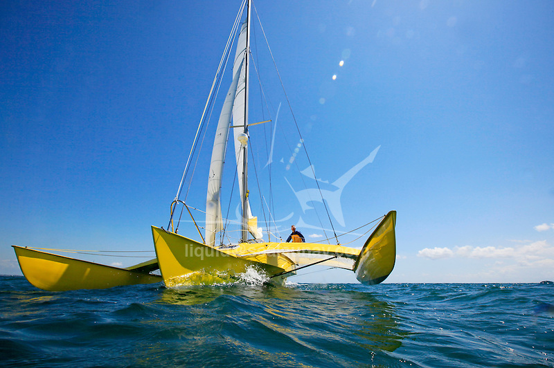 """'Happy' (the sister ship of Mike Birch's famous Olympus) skippered by Loick Peyron preparing to take part in this 10th transatlantic race """"La Route du Rhum"""", La Trinité-sur-Mer, Brittany, France."""
