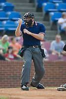 Home plate umpire Jon Saphire makes a strike call during a Carolina League contest between the Potomac Nationals and the Winston-Salem Warthogs at Ernie Shore Field in Winston-Salem, NC, Saturday August 9, 2008. (Photo by Brian Westerholt / Four Seam Images)