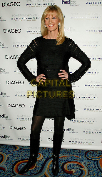 SANDRA LEE .Something To Share: Dress for Success Worldwide Gala 2008.at The Marriott Marquis, New York, NY, USA, April 9, 2008..full length black dress boots hands on hips .CAP/LNC/TOM.©LNC/Capital Pictures