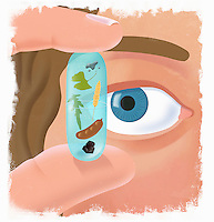 Hand holding and eye looking at pill with plants and food inside
