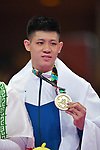 Wu Chunwei (TPE), <br /> AUGUST 27, 2018 - Karate : Men's Kumite -84kg Victory ceremony at Jakarta Convention Center Plenary Hall during the 2018 Jakarta Palembang Asian Games in Jakarta, Indonesia. <br /> (Photo by MATSUO.K/AFLO SPORT)