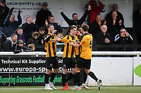 Maidstone's Will De Havilland congratulates Jake Embery after scoring their opening goal during Maidstone United vs Havant and Waterlooville, Vanarama National League Football at the Gallagher Stadium on 9th March 2019