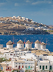 A view over Mykonos Town on the island of Mykonos in Greece.