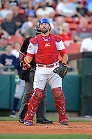 Buffalo Bisons catcher Mike Nickeas #11 during a game against the Durham Bulls on June 24, 2013 at Coca-Cola Field in Buffalo, New York.  Durham defeated Buffalo 7-1.  (Mike Janes/Four Seam Images)