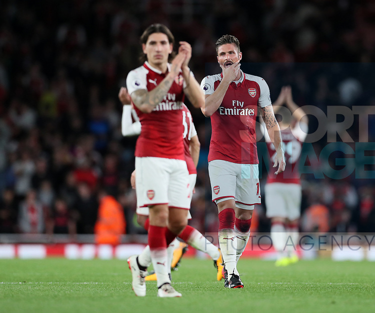 Arsenal's Olivier Giroud looks on at the final whistle during the premier league match at the Emirates Stadium, London. Picture date 11th August 2017. Picture credit should read: David Klein/Sportimage