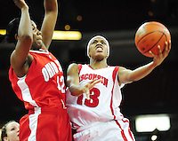 Wisconsin's Teah Gant goes up against Ohio State player Jantel Lavender as the Badgers fall behind the Buckeyes at half time Thursday night, 1/8/09, at the Kohl Center in Madison, Wisconsin