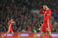 Gareth Bale of Wales during the UFEA Nations League B match between Wales and Denmark at The Cardiff City Stadium in Cardiff, Wales, UK. Friday 16 November 2018