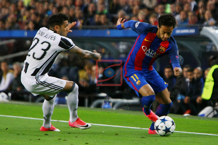 UEFA Champions League 2016/2017.<br /> Quarter-finals 2nd leg.<br /> FC Barcelona vs Juventus Football Club: 0-0.<br /> Dani Alves vs Neymar Jr.