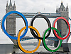 Mayor launches giant Olympic rings onto the River Thames <br />